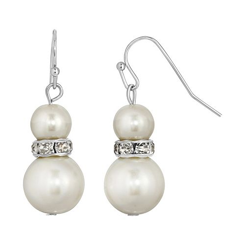 1928 Graduated Simulated Pearl Drop Earrings