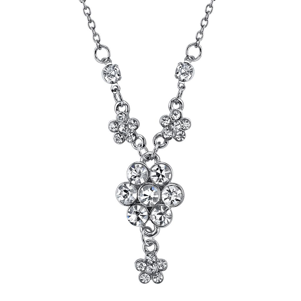 1928 Simulated Crystal Flower Y Necklace