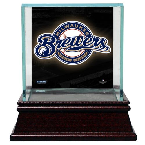 Steiner Sports Glass Single Baseball Display Case with Milwaukee Brewers Logo Background