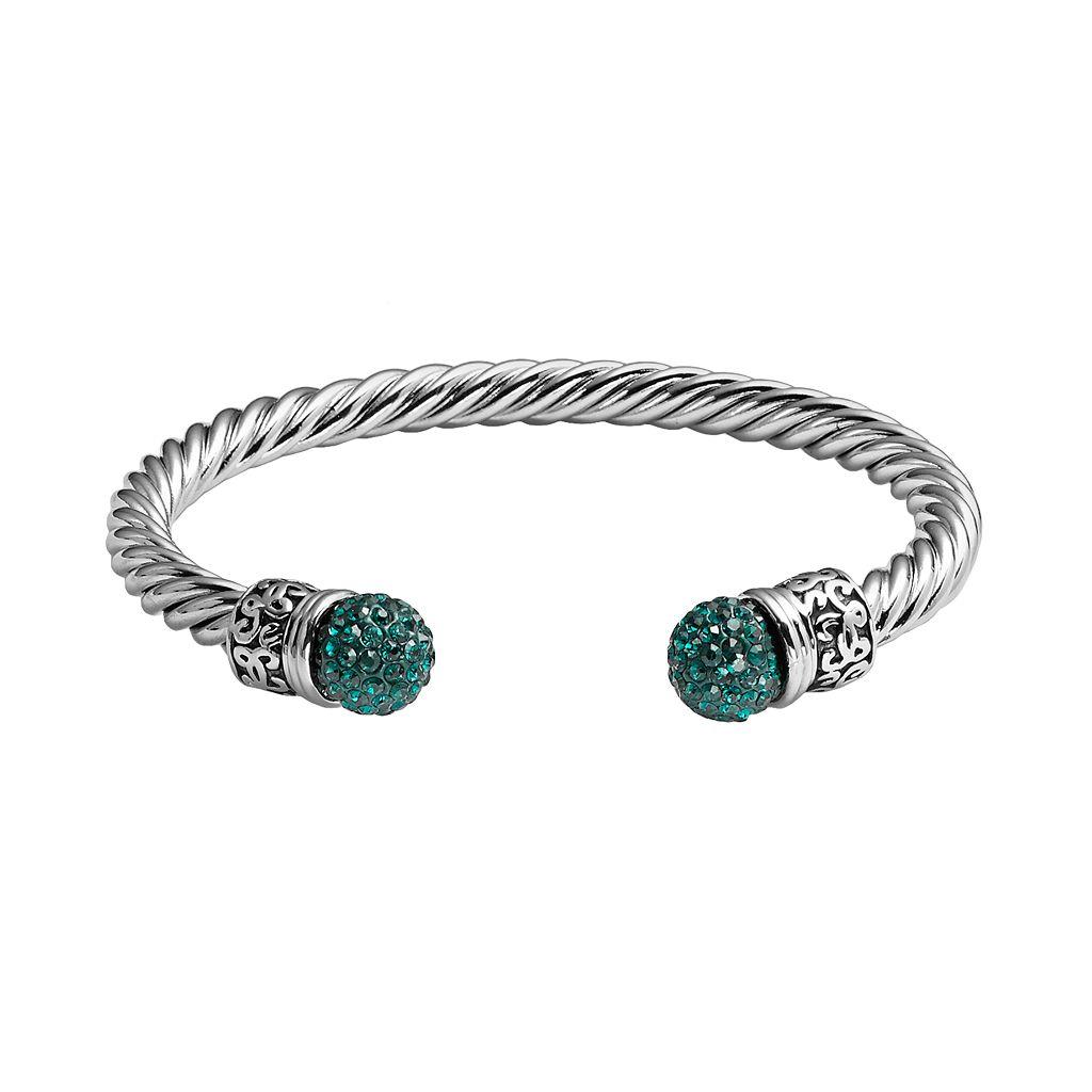 Crystal Silver-Plated Twist Cuff Bracelet