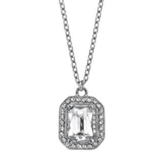 1928 Rectangle Halo Pendant Necklace