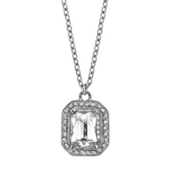 1928 Rectangle Halo Pendant Necklace