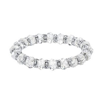 1928 Simulated Crystal & Clear Bead Stretch Bracelet