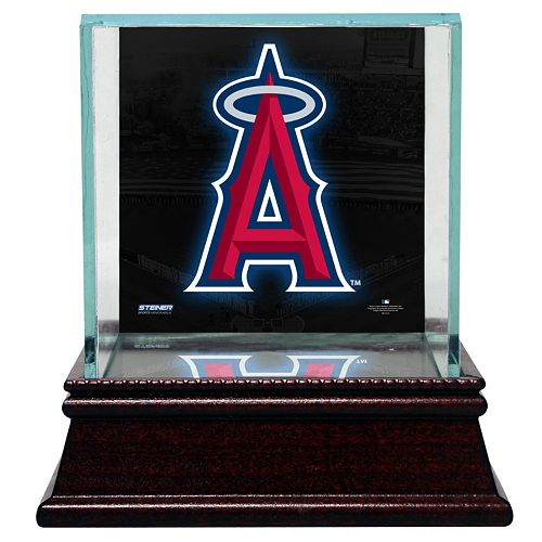 Steiner Sports Glass Single Baseball Display Case with Los Angeles Angels of Anaheim Logo Background