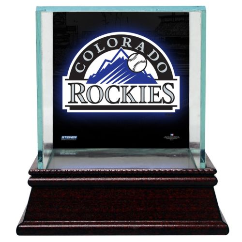 Steiner Sports Glass Single Baseball Display Case with Colorado Rockies Logo Background