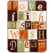 ''Love Faith Inspire'' Hi Pile Luxury Throw