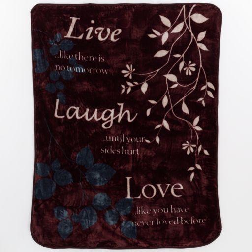 ''Live Laugh Love'' Hi Pile Luxury Throw