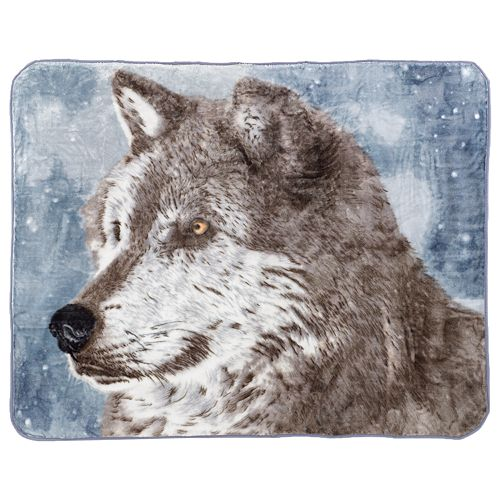 Snowy Wolf Hi Pile Luxury Throw