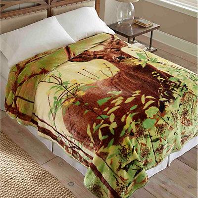Deer Hi Pile Luxury Blanket - 90'' x 90''
