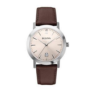Bulova Men's Leather Watch - 96B217
