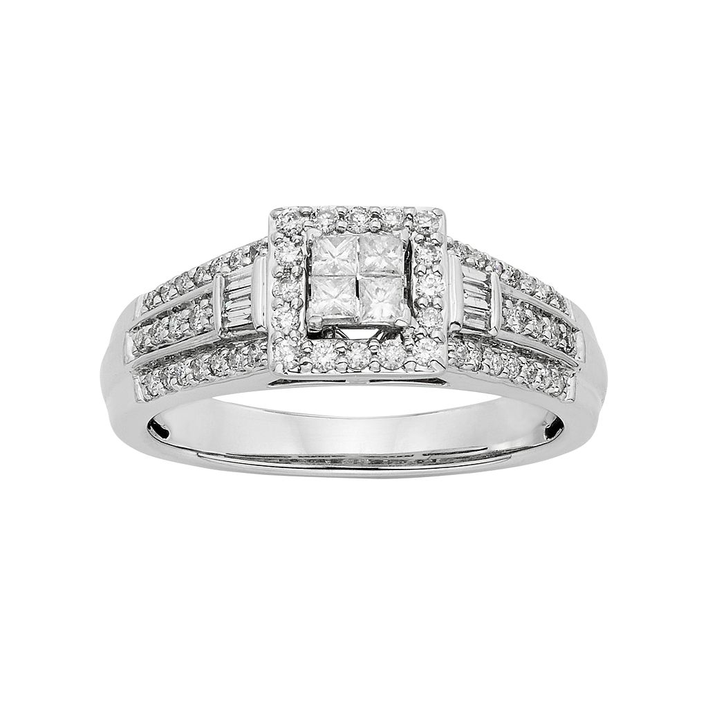 Diamond Square Halo Engagement Ring in 10k White Gold (1/2 Carat T.W.)