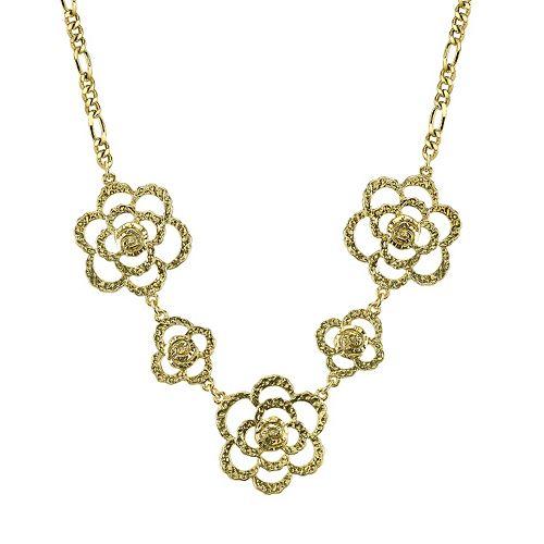 1928 Hammered Flower Necklace