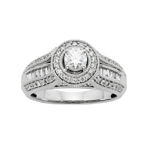 Diamond Halo Engagement Ring in 10k White Gold (1 Carat T.W.)