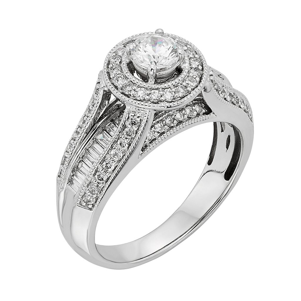 Diamond Halo Engagement Ring in 10k White Gold (1 Carat T.W.)