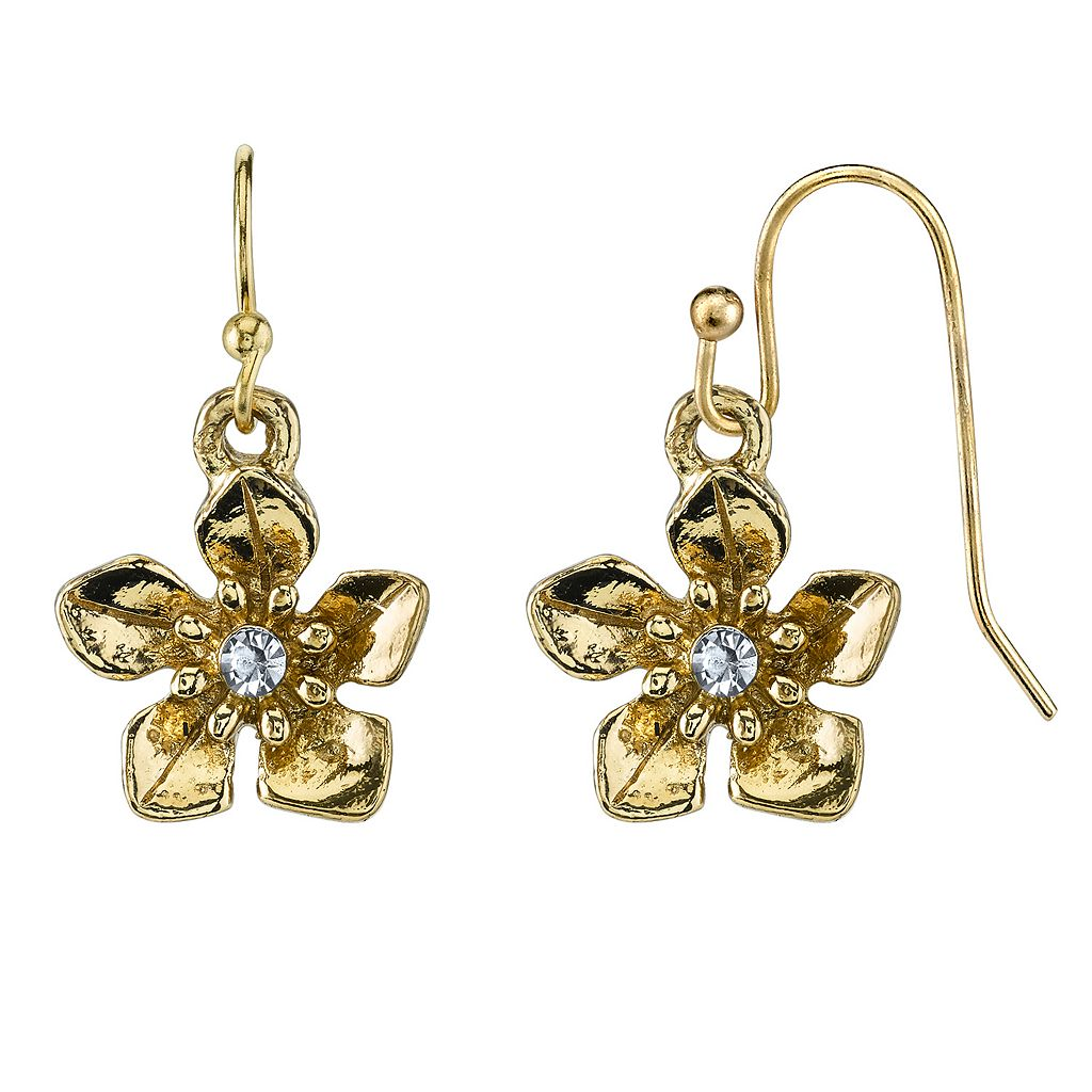 1928 Simulated Crystal Flower Drop Earrings