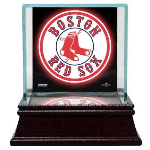 Steiner Sports Glass Single Baseball Display Case with Boston Red Sox Logo Background