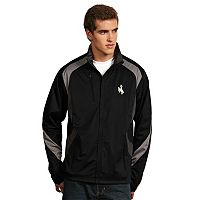 Men's Antigua Wyoming Cowboys Tempest Desert Dry Xtra-Lite Performance Jacket
