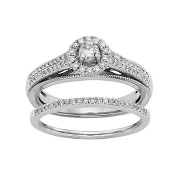Diamond Halo Engagement Ring Set in 10k White Gold (1/2 Carat T.W.)
