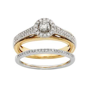Diamond Halo Engagement Ring Set in 10k Yellow & White Gold (1/2 Carat T.W.)