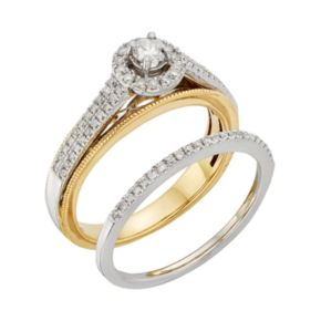 Diamond Halo Engagement Ring Set in 10k Yellow and White Gold (1/2 Carat T.W.)