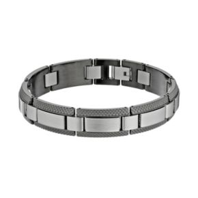 LYNX Two Tone Stainless Steel Textured Bracelet - Men