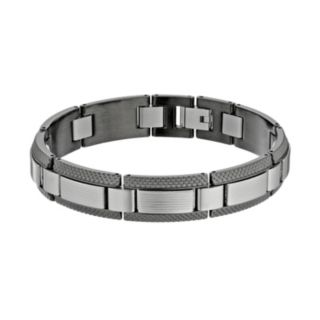 LYNX Two Tone Stainless Steel Textured Bracelet - Men