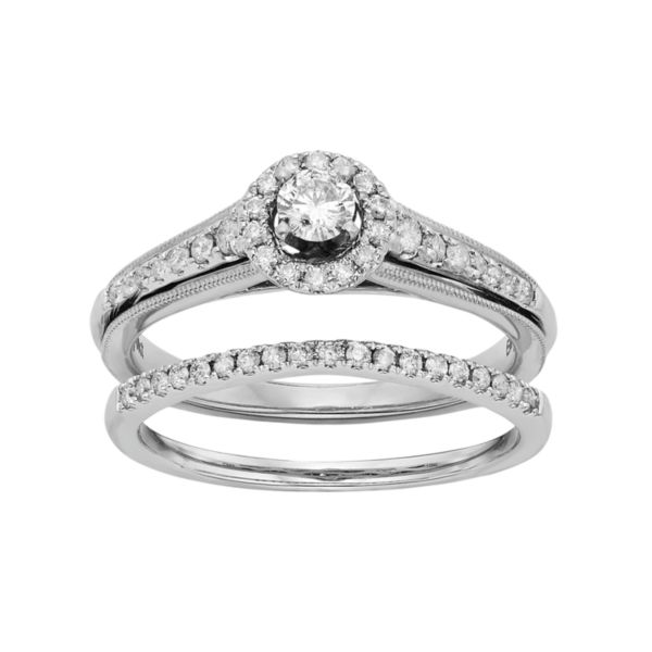 kohls wedding rings halo engagement ring set in 10k white gold 1 2 5339