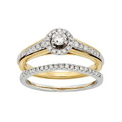 Diamond Halo Engagement Ring Set in 10k Yellow & White Gold (1/2 Carat T.W.)