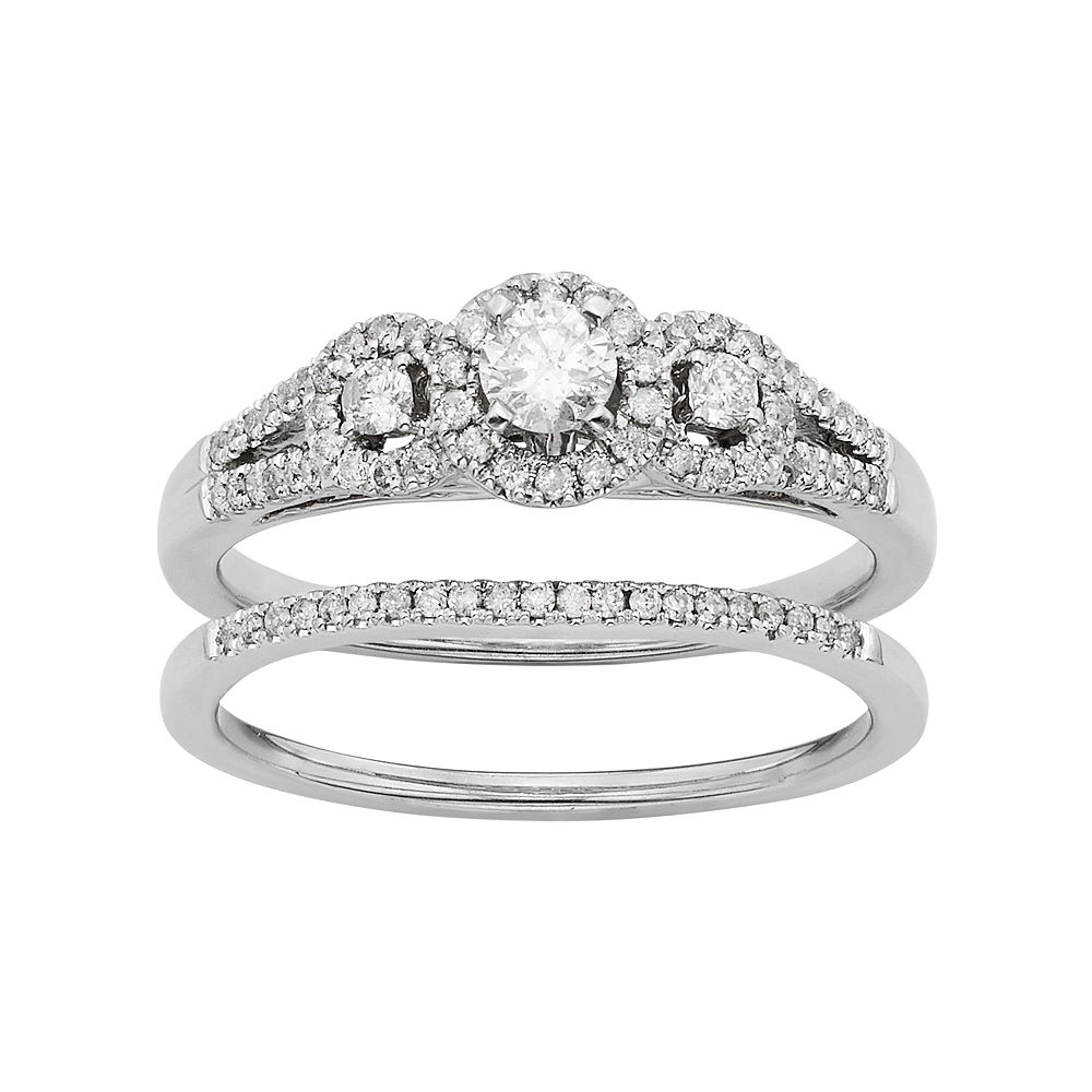 Diamond Halo Engagement Ring Set in 10k White Gold (1/2 Carat T.W.)
