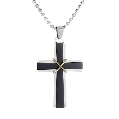 LYNX Tri-Tone Stainless Steel Cross Pendant Necklace - Men