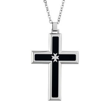 LYNX Two Tone Stainless Steel Cross Pendant Necklace - Men