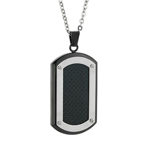 LYNX Two Tone Stainless Steel Carbon Fiber Dog Tag Necklace - Men