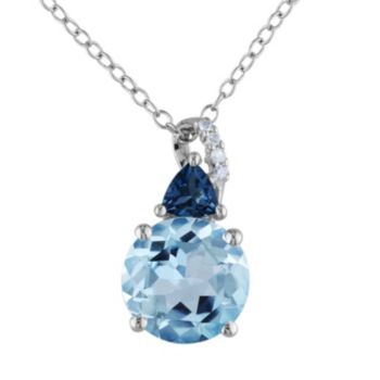 Sky Blue Topaz, London Blue Topaz and Diamond Accent Pendant