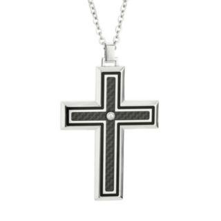 LYNX Cubic Zirconia Two Tone Stainless Steel Carbon Fiber Cross Pendant Necklace - Men