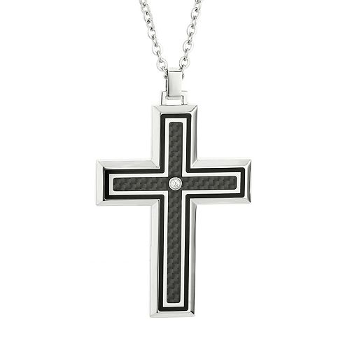 LYNX Cubic Zirconia Two Tone Stainless Steel Carbon Fiber Cross Pendant Necklace - Men