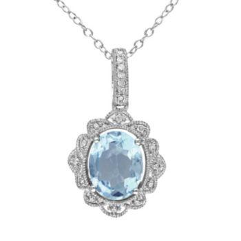 Sky Blue Topaz and 1/10 Carat T.W. Diamond Sterling Silver Pendant