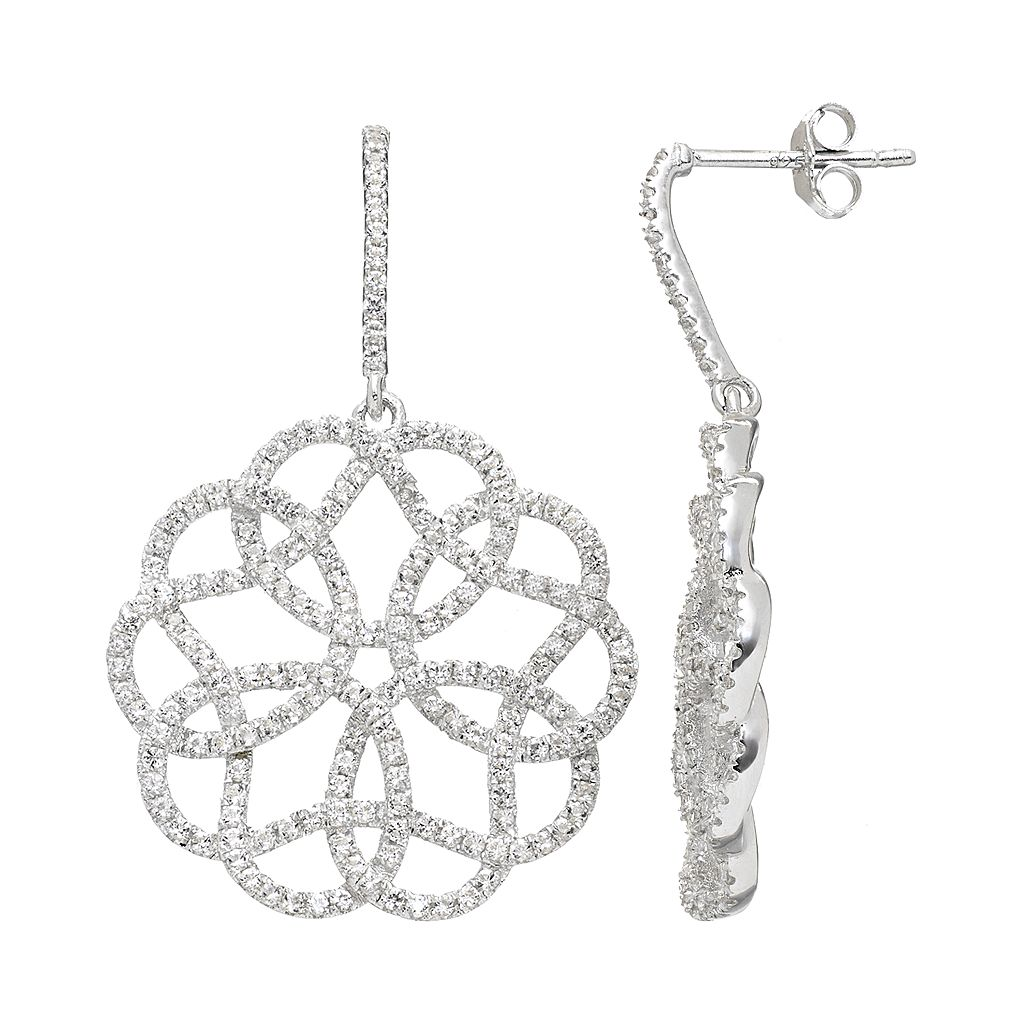 White Topaz Sterling Silver Lace Drop Earrings