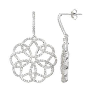 White Topaz Sterling Silver Lace Drop Earrings