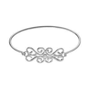 White Topaz Sterling Silver Lace Bangle Bracelet