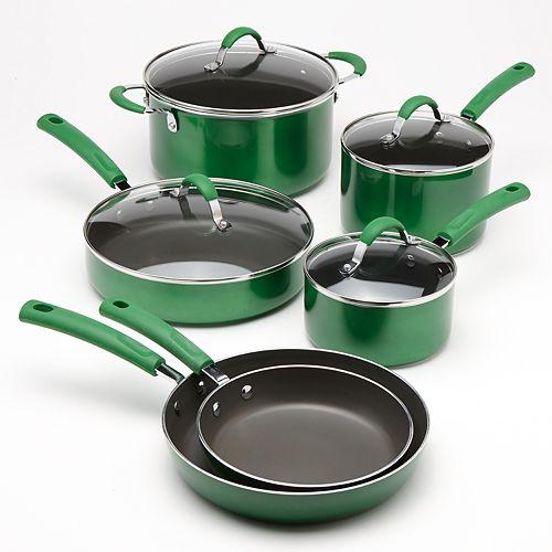Nonstick Cookware Set 10 Piece Metallic Enamel Cook Lids