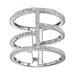 White Topaz Sterling Silver Triple Row Ring