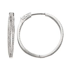 White Topaz Sterling Silver Double Hoop Earrings