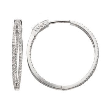 White Topaz Sterling Silver Double Hoop Earrings