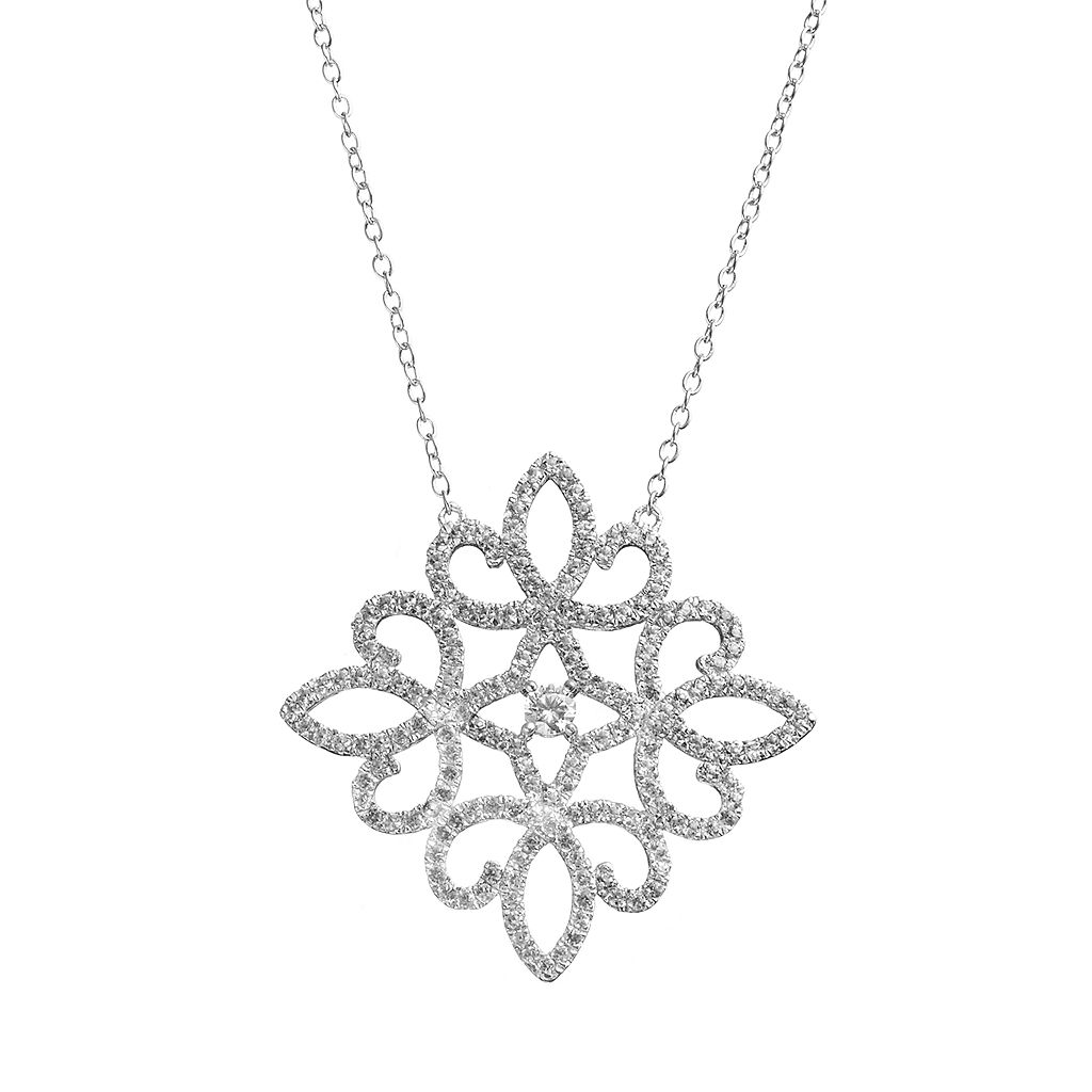 White Topaz Sterling Silver Lace Necklace