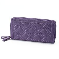 Buxton Diamond Quilt Double Zip Wallet