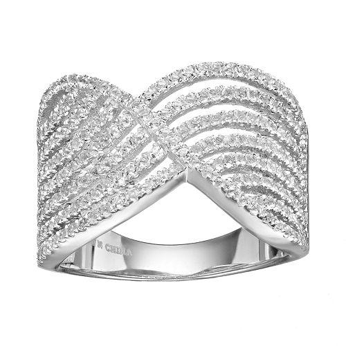 White Topaz Sterling Silver Swirl Ring