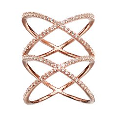 White Topaz 18k Rose Gold Over Silver Double X Ring