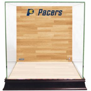 Steiner Sports Glass Basketball Display Case with Indiana Pacers Logo On Court Background