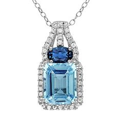 Sky Blue Topaz, London Blue Topaz & Lab-Created White Sapphire Pendant by