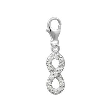 Cubic Zirconia Sterling Silver Infinity Charm